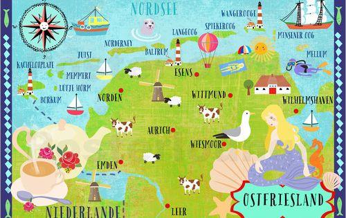 Elisandra Sevenstar Bunte Karte Ostfriesland Ostfriesland