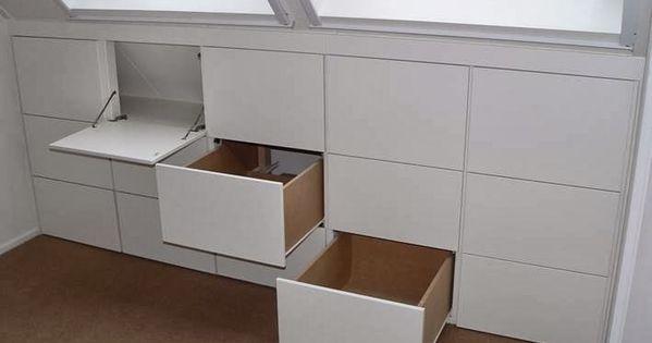 Binnenkant onder het schuine dak home storage pinterest - Idee outs kamer bad onder het dak ...