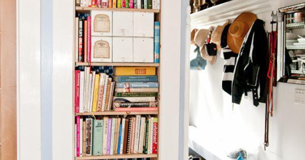 built in kitchen bookcase.