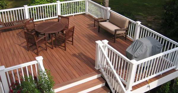 Redwood Stained Deck With White Railing I Love The