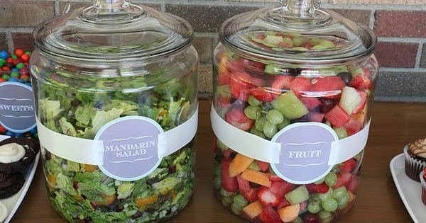 Salad in jars. Great way to serve salads for an outdoor event.