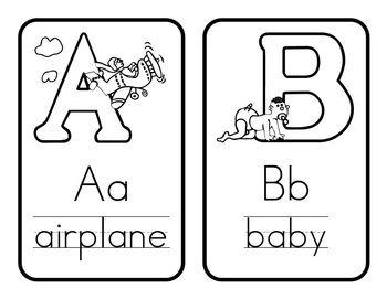 Free Black And White Alphabet Cards Alphabet Cards Alphabet Word Wall Cards Printable Flash Cards