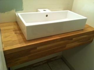 Trough Sink On Butcher Block Counter Sink Powder Room Powder