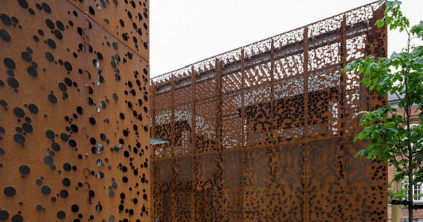 perforated corten texture cor ten steel cladding steel pinterest steel cladding cor ten. Black Bedroom Furniture Sets. Home Design Ideas