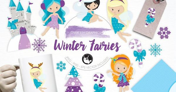 Winter Fairies illustration pack perfect for invitations, greeting cards