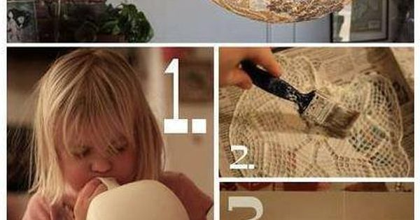 How to make pretty lace lamp lighting step by step DIY tutorial