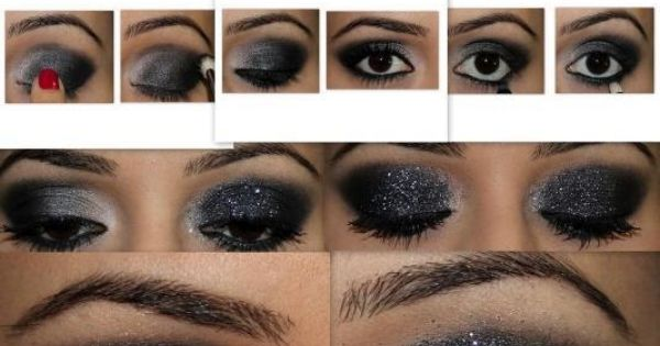 #Sexy Smokey Eyes Glitter Eyeshadow New Years Makeup Style Fashion Tutorial Guide