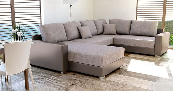 canap d 39 angle convertible en pu taupe et tissu taupe chin cirillo 3 maison pinterest. Black Bedroom Furniture Sets. Home Design Ideas