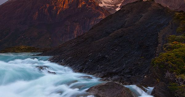 The Cuernos and Paine River at sunrise. Torres del Paine National Park