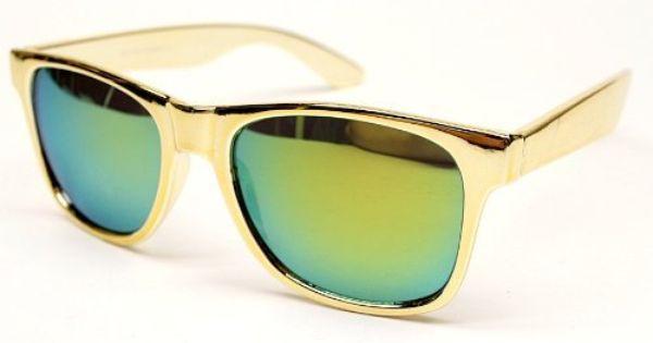 Metallic Gold Frame Wayfarer Sunglasses : Chrome (Plastic) Metallic Vintage Wayfarer Retro ...