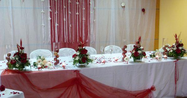 D coration f te d co de table mariage rouge et blanc - Deco de table rouge et blanc ...