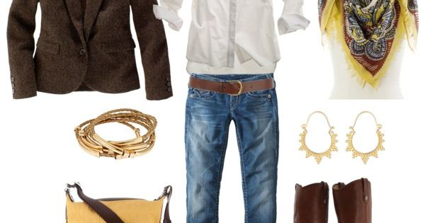 Crisp white shirt with brown boots and brown jackets