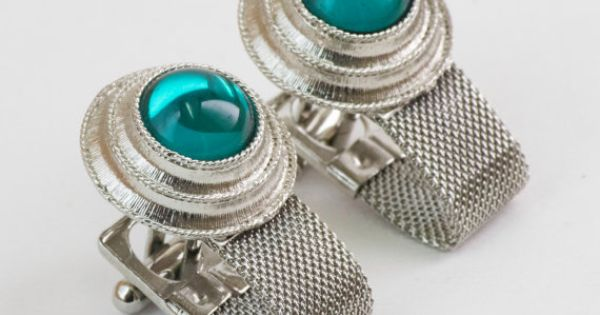 Vintage Wrap Around Cufflinks  Turquoise or Teal by CuffsandClips, $25.50