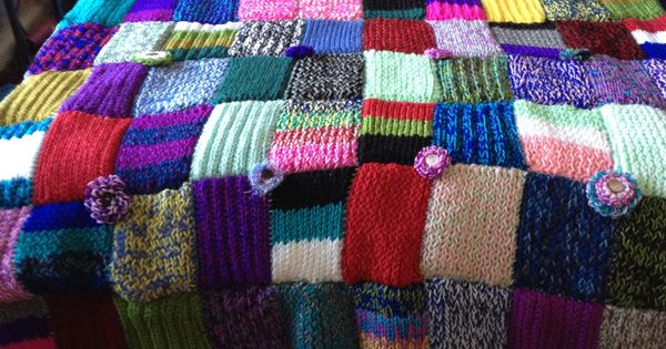 Loom Knitted Blanket Made Of 100 Different Rectangle