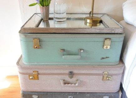 repurpose reuse vintage suitcase mirror end table night stand guest room