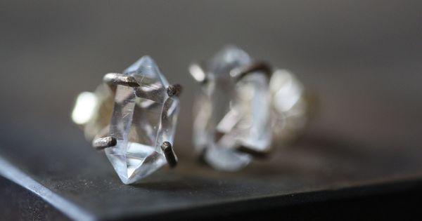 Herkimer Diamond Earrings- 14kt gold, studs, prong setting, natural diamond, bridal earrings,