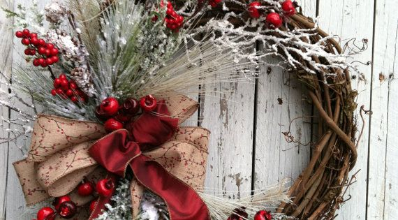 Winter Christmas Wreath for Door Red and by marigoldsdesigns, $87.00