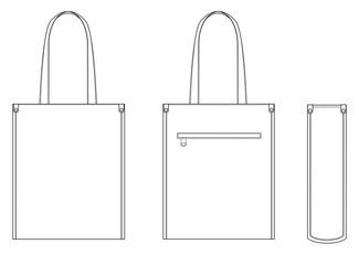 Tote Bag Technical Drawing Flat Sketches Technical Drawing Drawing Bag Flat Sketches