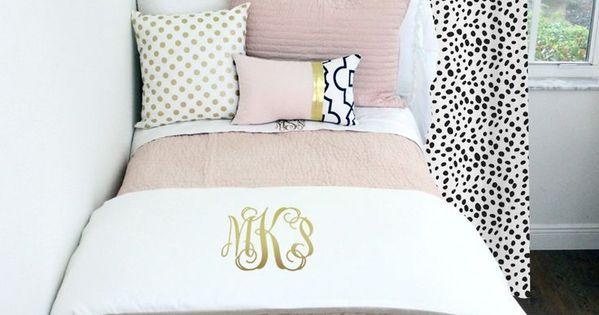 Blush White Pop Of Black Dorm Amp Teen Designer Bedding Set