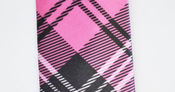 Mens Tie Pink and Black Modern Tartan Pattern by TiestheKnot, $8.99