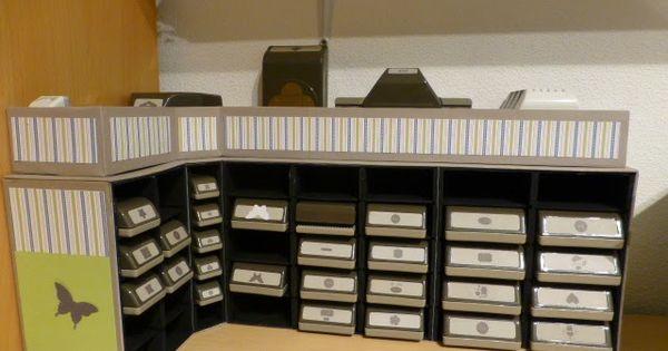 bastelteufelchen aufbewahrung f r stampin up stanzen aus graupappe craftingrooms pinterest. Black Bedroom Furniture Sets. Home Design Ideas