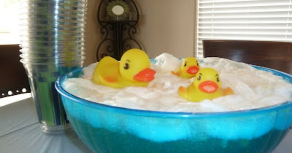 Rubber Ducky punch, Gingerale and pineapple sherbet....awesome bubbles! :)... ducky party