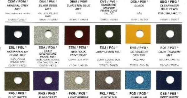 Jeep Interest Rates >> 1998 Jeep Paint Color Charts | 2010 Chrysler Rm Paint Charts | Jeep Ideas | Pinterest | Paint ...