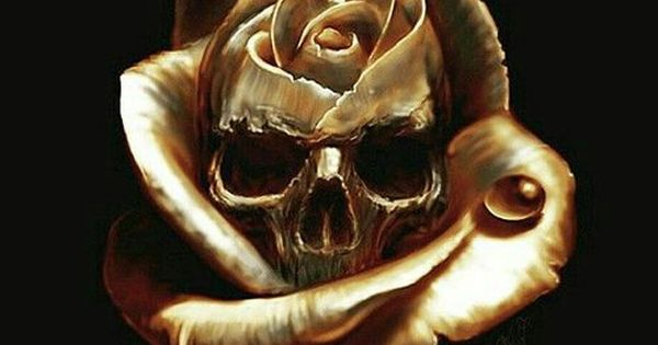 A Gold Skull Inside A Gold Rose Skulls And Other Stuff And Things Pinterest Gold Skull