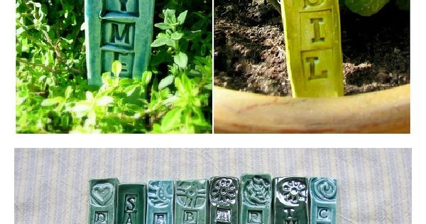 Garden & Herb Stakes Green U-Pick Stamped Marker Set/4 ...