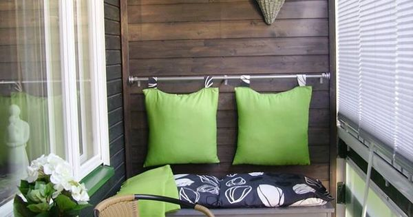 Love the pillows hanging on the curtain rod!!! ... decorating small balconies
