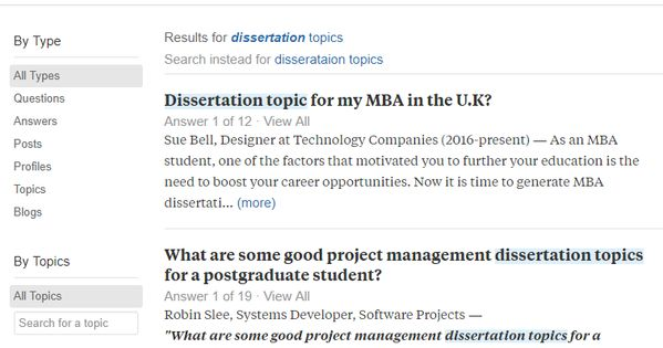 Using Quora To Choose A Dissertation Topic Mba Student How