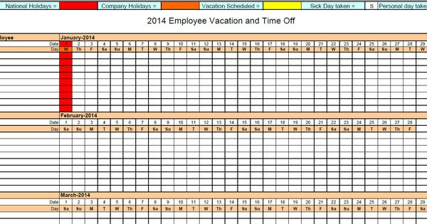 printable pdf 2014 employee absence vacation tracking