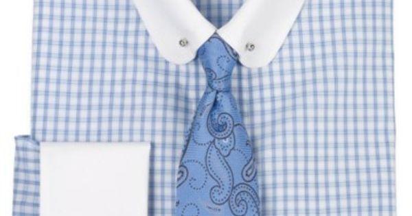 100% Cotton Grid Pattern Club Eyelet Collar French Cuff Dress Shirt from Paul Fredrick