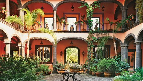 Courtyard Inside A Mexican House