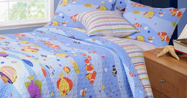 Blue tropical fish bedding twin full queen kids quilt sets for Fish bedding twin