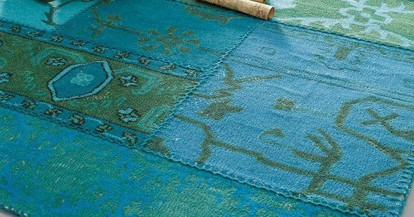 Blauw wollen tapijt 140 x 200 cm blauw en huiskamer - Acapulco tapijt ...
