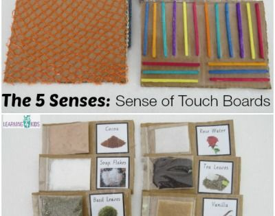 I made these Sense of Smell Swatches and Sense of Touch Boards