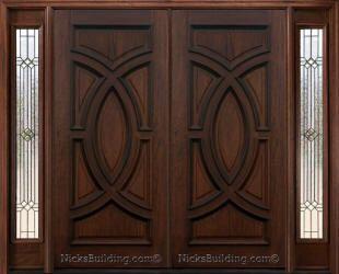 Exterior Double Doors With Sidelights Solid Mahogany Doors Double Door Design Door Design Wood Wood Exterior Door