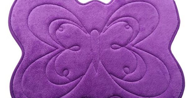 Wukong Purple Butterfly Shape Memory Foam Bath Rug Non Slip