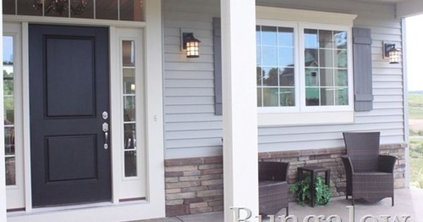 Front Porch Love The Colors And The Stone Gray House Exterior House Exterior House Exterior Blue
