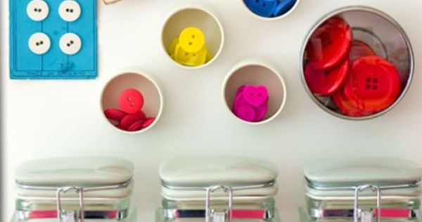 Bocaux de bobines ou de boutons couleur am nagement for Rangement boutons couture