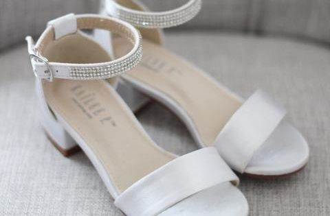 White Satin Block Heel Sandals With Tulle Bow Flower Girls Sandals Kailee P Inc Flower Girl Shoes Bridesmaid Sandals Spring Shoes Women