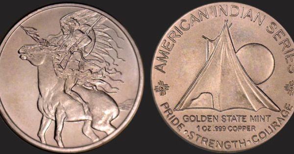 1 oz copper coin Native American Indian series # 2 copper bullion round