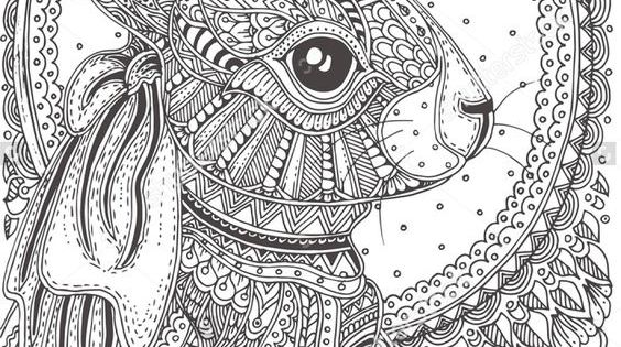 Rabbit zentangle Animal Coloring Pages for Adults