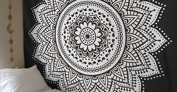 Black White Lotus Mandala Bohemian Wall Tapestry ...
