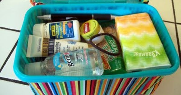 Car Emergency Kit (Fill an empty baby wipes case with a grocery