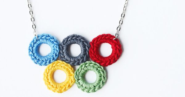 #Crochet Bubble jewelry Olympic rings necklace