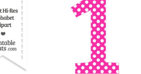 Hot Pink Polka Dot Number 1 Clipart
