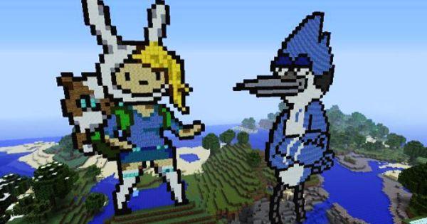 Fionna & Cake of Adventure Time & Mordecai of Regular Show ...  Minecraft