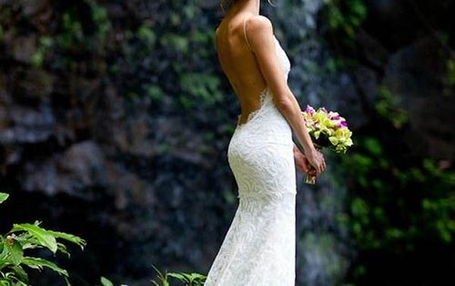 low back wedding dress. lovingg the whimsical forest-y scene :]